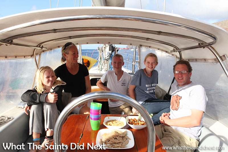 The Gifford family on their cruiser yacht Totem, moored in James Bay, St Helena. L-R: Siobhan, Behan, Niall, Mairen and Jamie.