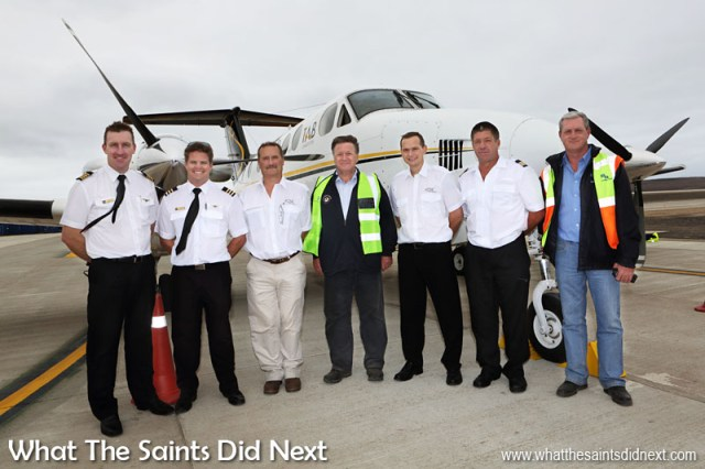 Historic day, 15 September, 2015 when the first airplane landed at St Helena's brand new airport, beginning the era of air travel to the island. The Governor of St Helena Mark Capes (centre) and airport building contractor Basil Read's Island Director, Deon De Jager (right), takes a moment with the flight crew.