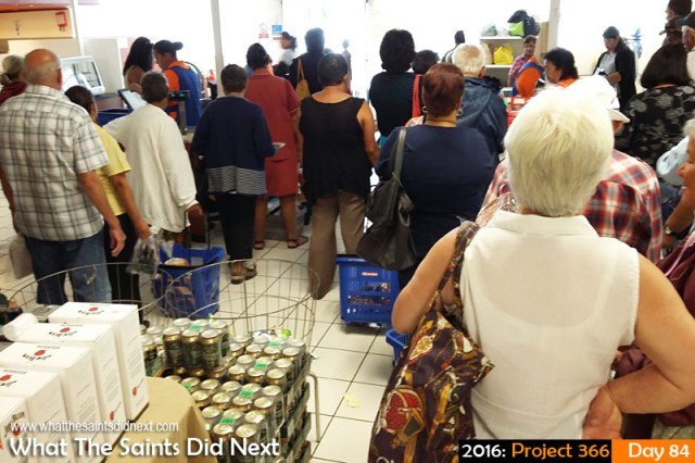 'Dutch master' 24 March 2016, 10:44 - 1/17, f/2.4, ISO-160 - Samsung Galaxy A3 What The Saints Did Next - 2016 Project 366 Shopping queues on Maunday Thursday in Solomons Star supermarket, Jamestown, St Helena.