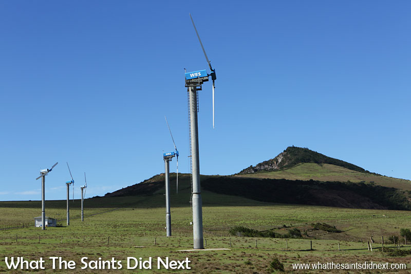 The strong, reliable south-east trade winds sweep across Deadwood Plain, making it an ideal location for the island's wind farm, if a little unsightly on such a beautiful expanse of landscape. The first turbines were installed in 1999. Today there are twelve of the electricity generators rising up on the Plain.