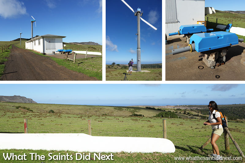 When the light is good everything is a photographic distraction for us, even the wind farm! Clockwise from top: The concrete generator room is a good half way marker for the walk; these blades were actually spinning quite fast; two generator heads on the ground for maintenance; Sharon viewing one of the blades gives a good sense of how big they are.
