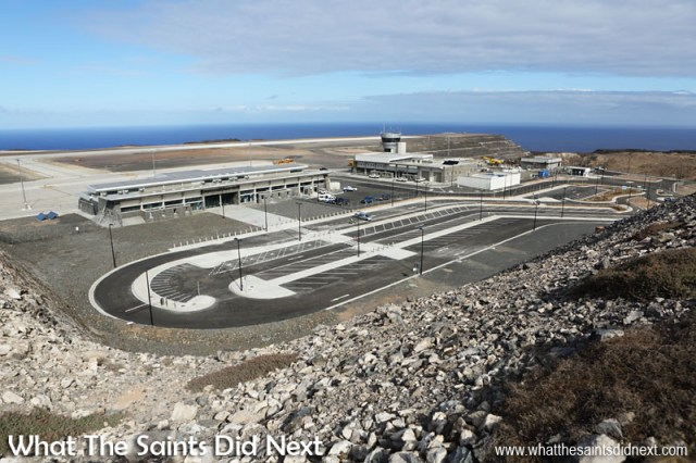 The brand new St Helena Airport on Prosperous Bay Plain which has been built by South African contractors, Basil Read. The terminal is to the left, the Combined Building with the control tower can be seen to the right.