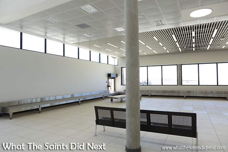 The Baggage Reclaim hall inside the new St Helena Airport terminal.