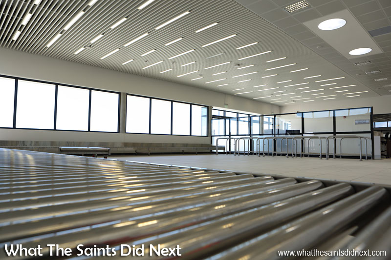 The Baggage Reclaim hall inside the St Helena Airport terminal.