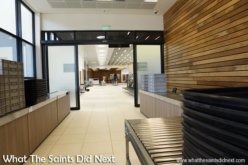 Inside the new St Helena Airport. The view new arrivals will see from the HM Customs counter through to the main terminal concourse.