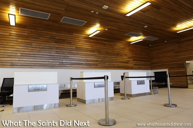 Departures Check-In Desks on the concourse of the St Helena Airport terminal.