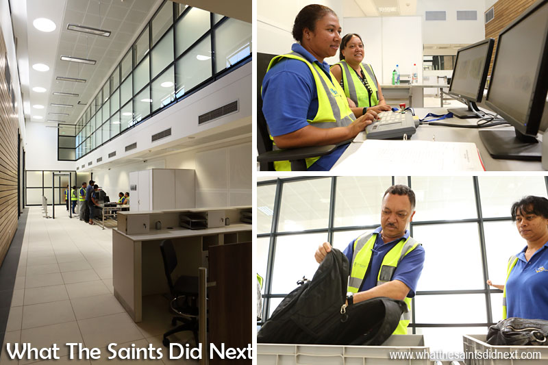 Inside the St Helena Airport terminal. Security staff training for screening departure passengers and their hand luggage.