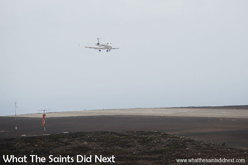 First jet plane to land on St Helena - on final approach. The Bombardier Challenger 300 didn't do a fly by even though it was the first jet plane to land at the new airport, it lined up and touched down first time.