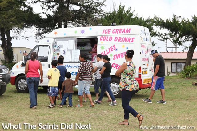 Shirley's Ice Cream van being kept very busy on Longwood Green.