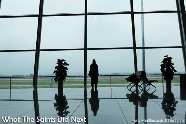 Sharon inside the huge, gleaming Hanoi international airport in Vietnam. Once the air route from St Helena to Johannesburg is established, Saints will have easy access to hundreds of destinations all around the world.