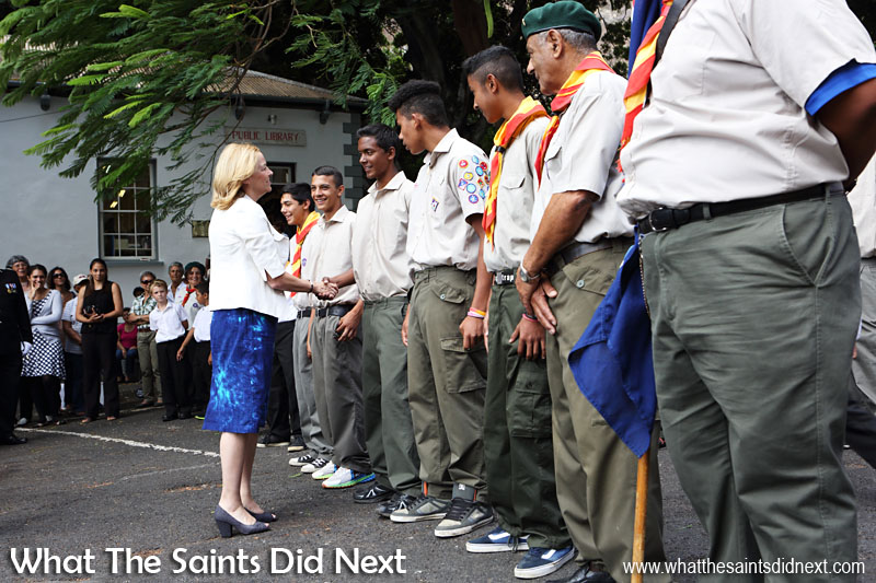 Greeting members of the Jamestown Scout troop. Inauguration Ceremony of Her Excellency the Governor, Ms Lisa Phillips - Supreme Court Terrace, Jamestown, St Helena.