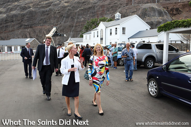 Her Excellency the Governor Designate, Ms Lisa Phillips, walking with officials up from the wharf to the Castle, here chatting to Marina Burns, wife of Sean Burns (Head of Governor's Office) coming behind.