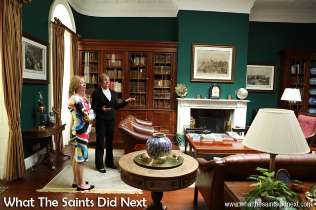 Earlier in the day - Her Excellency the Governor Designate, Ms Lisa Phillips, being shown around her new residence, Plantation House, by the Aide de Camp, Debbie Stroud.