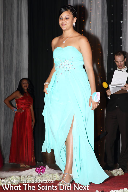 Jessica Sim, contestant no.6, in second round evening wear. Miss St Helena 2016 beauty pageant held at Prince Andrew School.