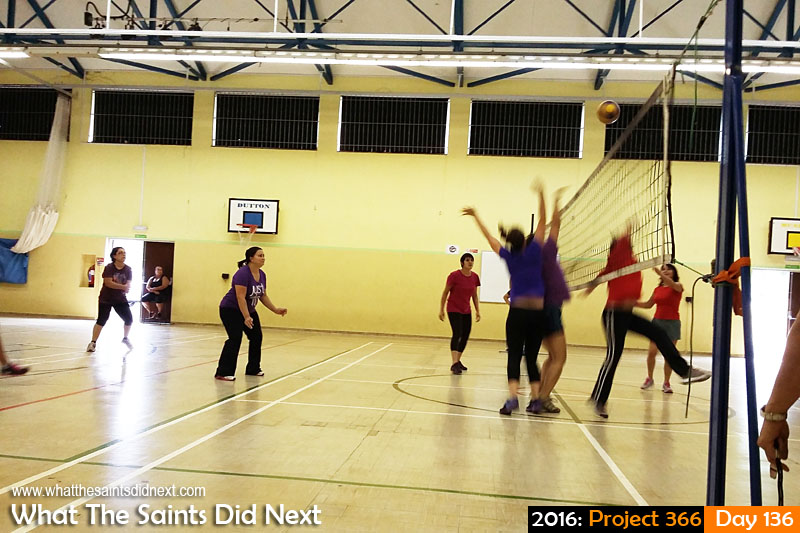 'Training device' 15 May 2016, 14:38 - 1/25, f/2.4, ISO-125 - Samsung Galaxy A3 What The Saints Did Next - 2016 Project 366 Sunday afternoon ladies volleyball at Prince Andrew School, St Helena.