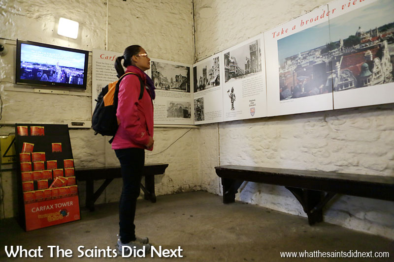 Our day out in Oxford, UK, the city of dreaming spires, included climbing the 99 steps of Carfax Tower. On the landing, half way up the tower, these information boards provide everything you need to know about the tower and the views. Very educational for visitors who want to learn more.