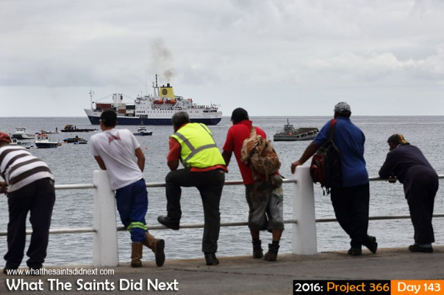 'Muster' 22 May 2016, 11:34 - 1/500, f/8, ISO-200 What The Saints Did Next - 2016 Project 366 Stevedores watch from the wharf as the RMS St Helena departs for Ascension and the UK.