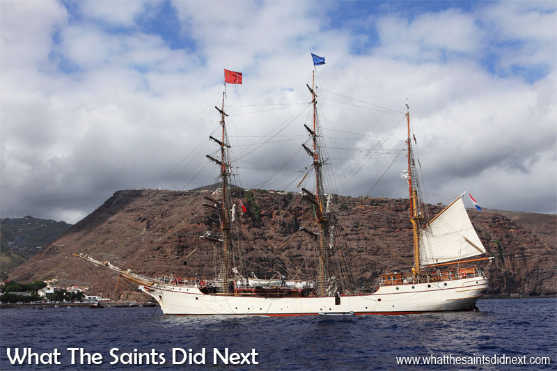 Tall ship Bark Europa, making what has become an annual call at St Helena Island. Built in 1911 in Germany the vessel survived two world wars and following an eight year rebuild she became the Bark Europa and now sails under the flag of The Netherlands.