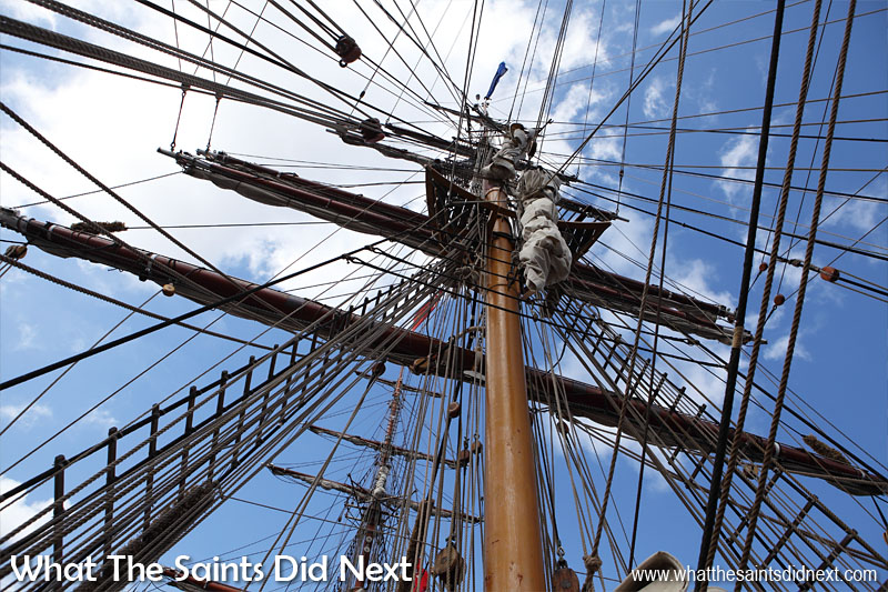 Bark Europa is a square rigger. She carries 12 square sails in total; six on both the fore and the main mast. The mizzen mast carries the spanker and the gaff topsail. Moreover she carries 10 staysails and can also carry six studding sails. This information is extracted from the passengers handbook! (We really couldn't tell you which is which!)