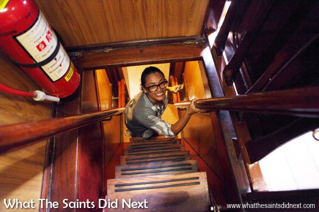 Heading down into the accommodation and galley deck on Bark Europa. The stairwells are very steep - mind your head!