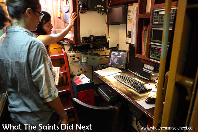 "'Bark Europa calling St Helena, Bark Europa calling St Helena, come in please."" Checking out the radio room."