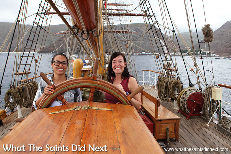 """Steer toward that cloudy island!"" The classic steering wheel on Bark Europa."