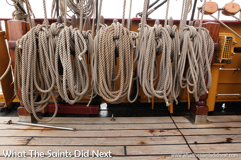 The rigging lines on Bark Europa are coiled everywhere on deck. Teamwork is required to handle these lines which set, hand and trim the 30 different sails which Europa carries.