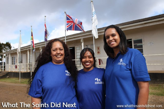 The very first Saints to fly out from and in to the brand new St Helena Airport: Amanda Leo (left), Kira Stevens (middle) and Jayne Thomas, photographed at the Basil Read headquarters in Longwood, on St Helena.