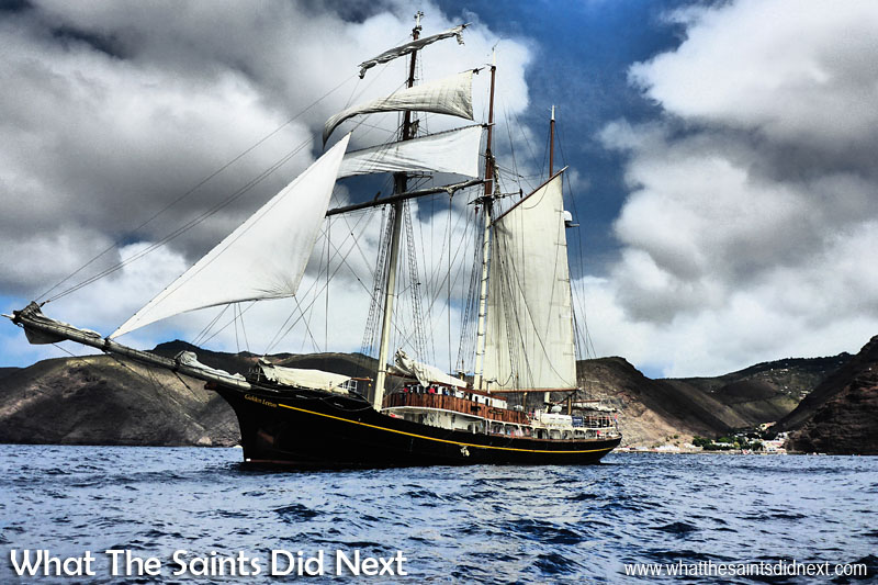 Example of the 'Impressive Art Effect' applied on the Panasonic Lumix DMC-FT5. This is the Gulden Leeuw or Golden Lion, tall ship, departing St Helena, photographed with the Lumix and then having the Impressive Art effect selected.