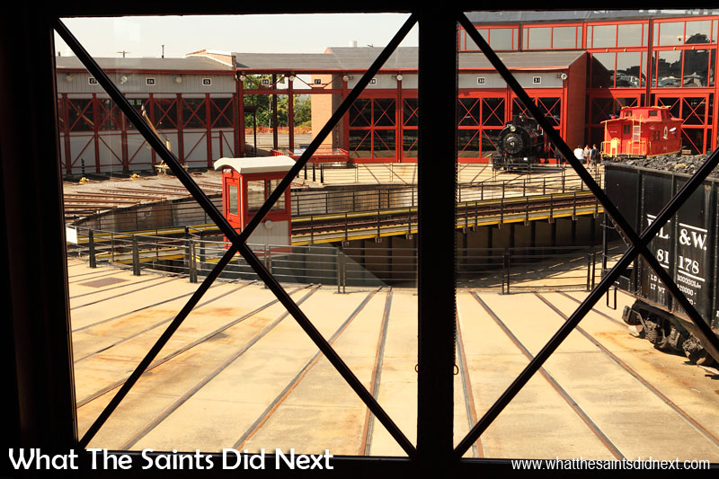Steamtown National Historic Site. A wide angled view of the locomotive turntable from inside the roundhouse building that has been reconstructed from remnants of a 1932 structure.