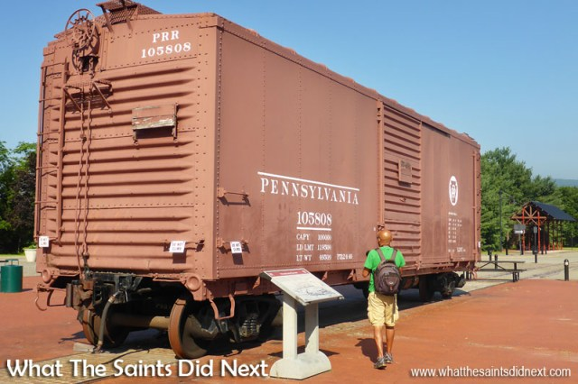 Boxcars were the backbone of the railroad's non-bulk freight business, the containers or sea-vans of the railroad. This one is on display outside the entrance to Steamtown, in Scranton, Pennsylvania.