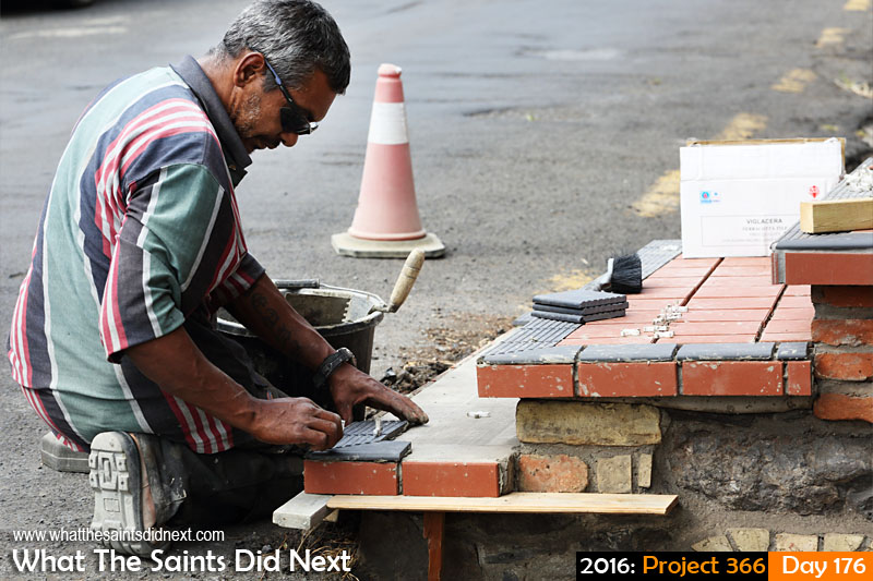 'Brexit' 24 June 2016, 11:01 - 1/250, f/7.1, ISO-200 What The Saints Did Next - 2016 Project 366 A builder at work in Jamestown, St Helena.