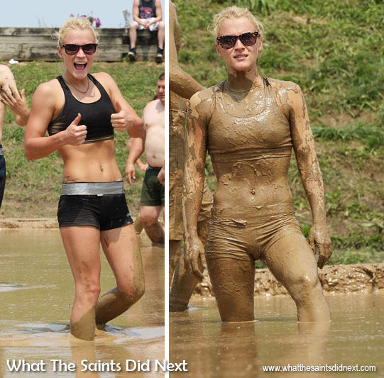 Before and after - Competitors undergo a 'uniform' transformation during the opening few points of each game! But it's all part of the attraction of Hannibal's July Fourth Mud Volleyball Tournament on the banks of the Mississippi River.