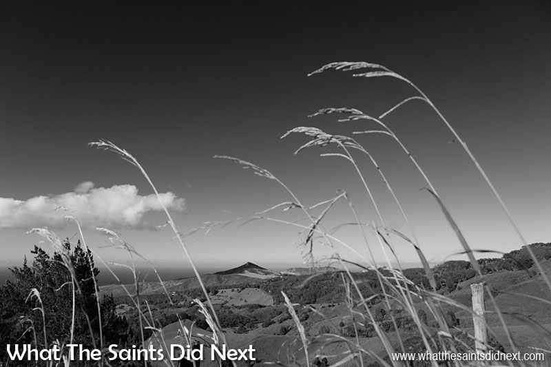 Black and White Photography Tips - Recognising colour tones when shooting black and white photography and how they translate is a useful skill. The deep blue sky above St Helena in this picture translates to a lovely black, offset by the cloud textures and foreground strands of grass.