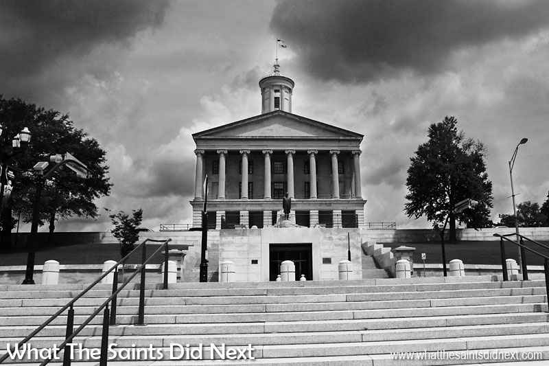 Black and white photography works great for architecture under the right conditions. This sight of the Tennessee State Capital building in Nashville, USA, got us excited right away with the dark, brooding clouds building and warm sunshine across the towering limestone building. The architecture lines mix well with the natural textures and shadows, perfect for black and white.
