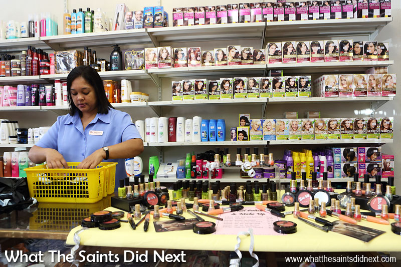 Jamestown is home to St Helena's only shopping district. Main street is lined with grocery, hardware and clothes shops. This is the cosmetics counter in Warren's Department store.