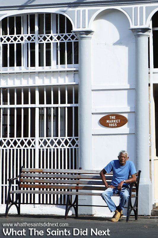Having a rest outside the Market building in Jamestown St Helena.