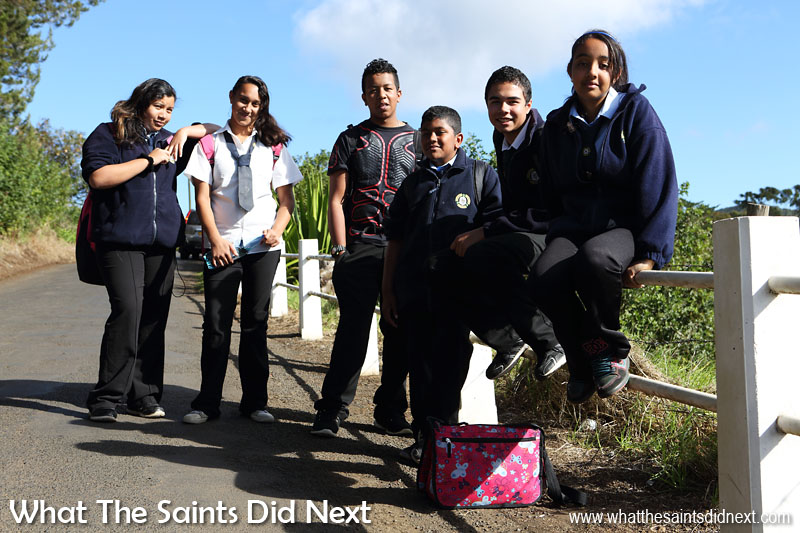 Prince Andrew School students homeward bound after a long day in the classroom. There are 790 people (17% of island's pop.) living in Longwood St Helena as per the 2016 Census report.