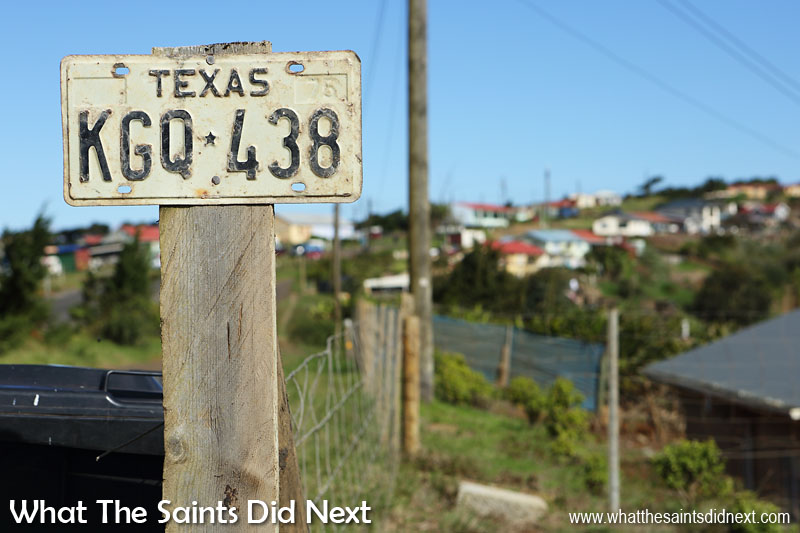 Old Texas, USA number plate gets a second life in 'Texas,' St Helena. This is in the Deadwood district of Longwood St Helena.