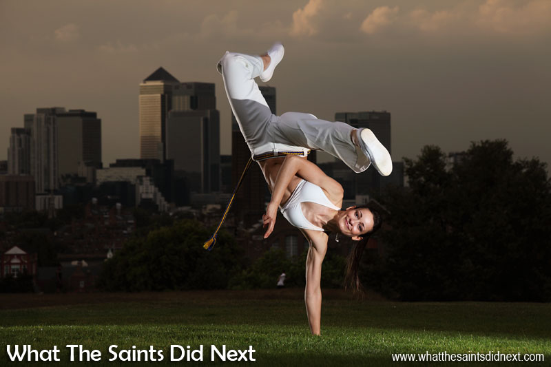 Brazilian Capoeira photoshoot by What The Saints Did Next in Greenwich Park, London. Model, Renata Martins; Photography, Darrin Henry; Make-up, Sharon Henry