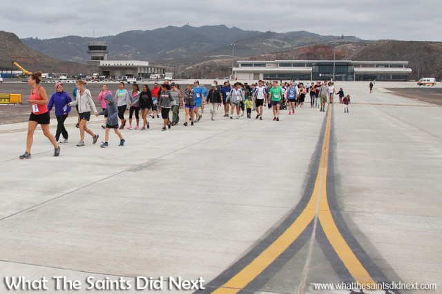 Cleared to enter the runway - 105 walkers and runners on the taxiway on St Helena Airport, heading out to the start of the runway dash.