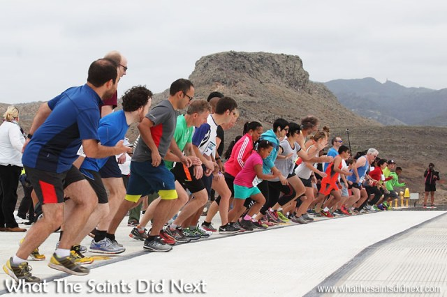 On your marks, get set - GO! With a gentle tail wind on runway 02 the first St Helena Airport runway dash is underway on 29 August (Bank Holiday) 2016.