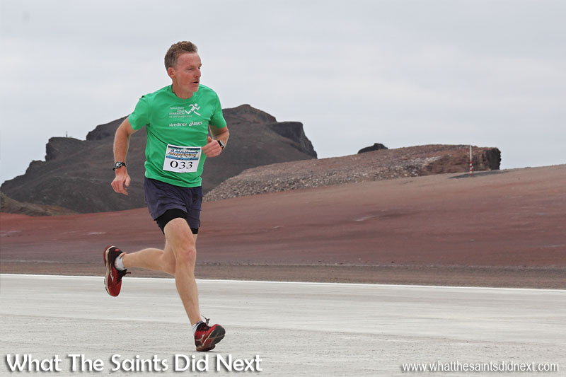 Martin Collins on his way to becoming the winner of the first St Helena Airport runway dash, down the strip and back in just 11 min 19 sec.