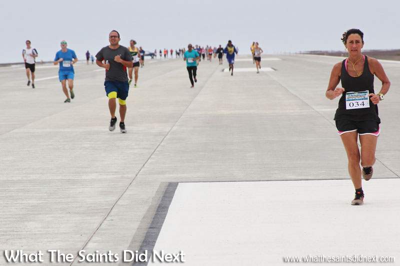 Megan Vass (right) first lady to complete the first St Helena Airport runway dash in 13 min 46 sec.