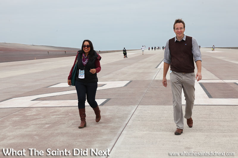 Dressed for the other type of runway! Actually sporting spectators who found it too tempting not to join in St Helena Airport's first ever runway dash.