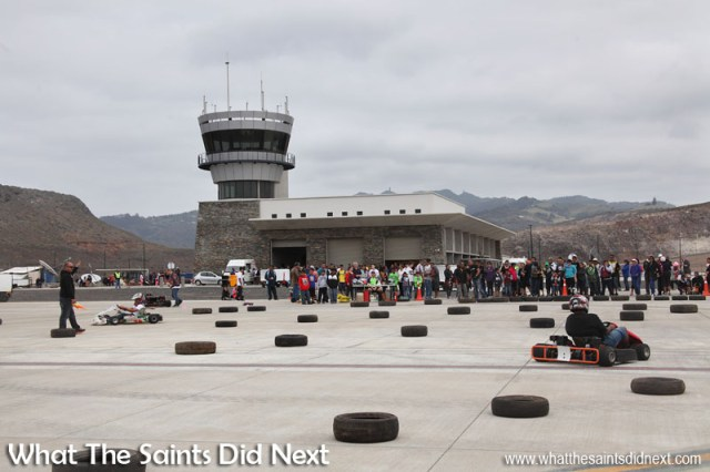 Go-kart racing on the apron was another activity on the day at St Helena Airport's first ever runway dash.