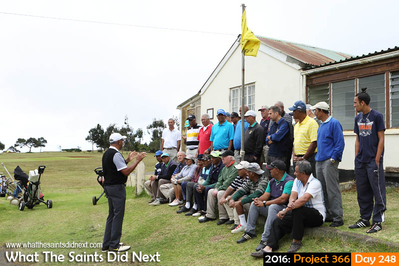 'Saint Theresa'<br /> 4 September, 2016, 09:37 - 1/160, f9, ISO-200<br /> Last minute briefing for golfers taking part in the 2016 Golf Open.