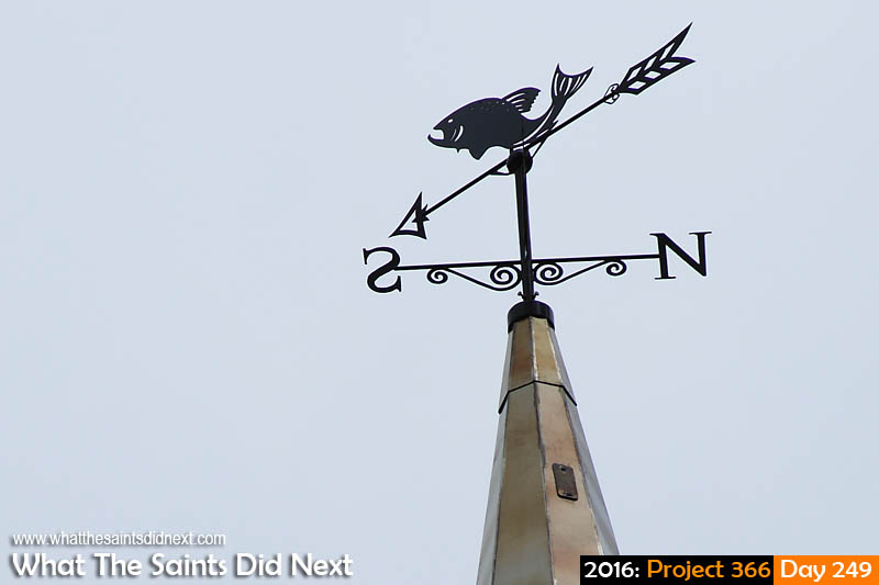 'Let's do this'<br /> 5 September, 2016, 10:54 - 1/800, f8, ISO-200<br /> Weather vane on the new spire erected yesterday on the Church in town.