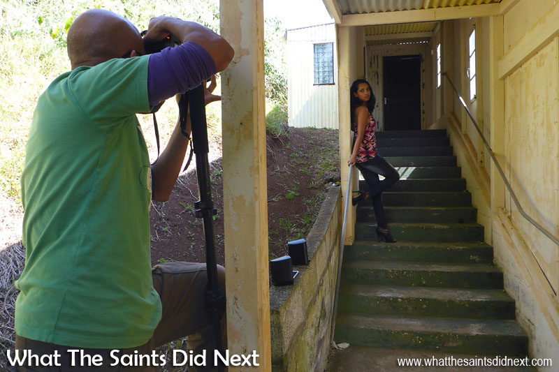 Behind the scenes on the Blue Hill Skittle Alley photoshoot with St Helena model, Gemma Lawrence.