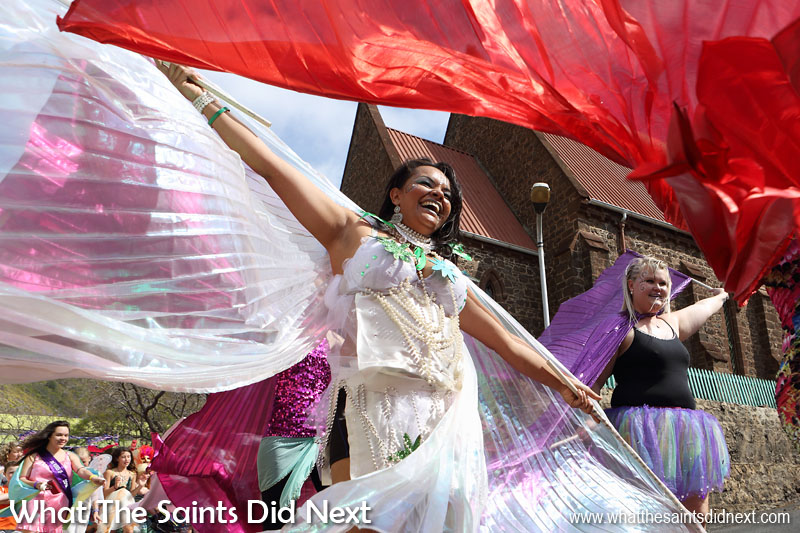 Carnival 2016 through historic Jamestown, St Helena, raising funds for local charity, Cancer Support and Awareness. This year's theme, 'Taking Flight' brought out wings of all shapes and sizes.